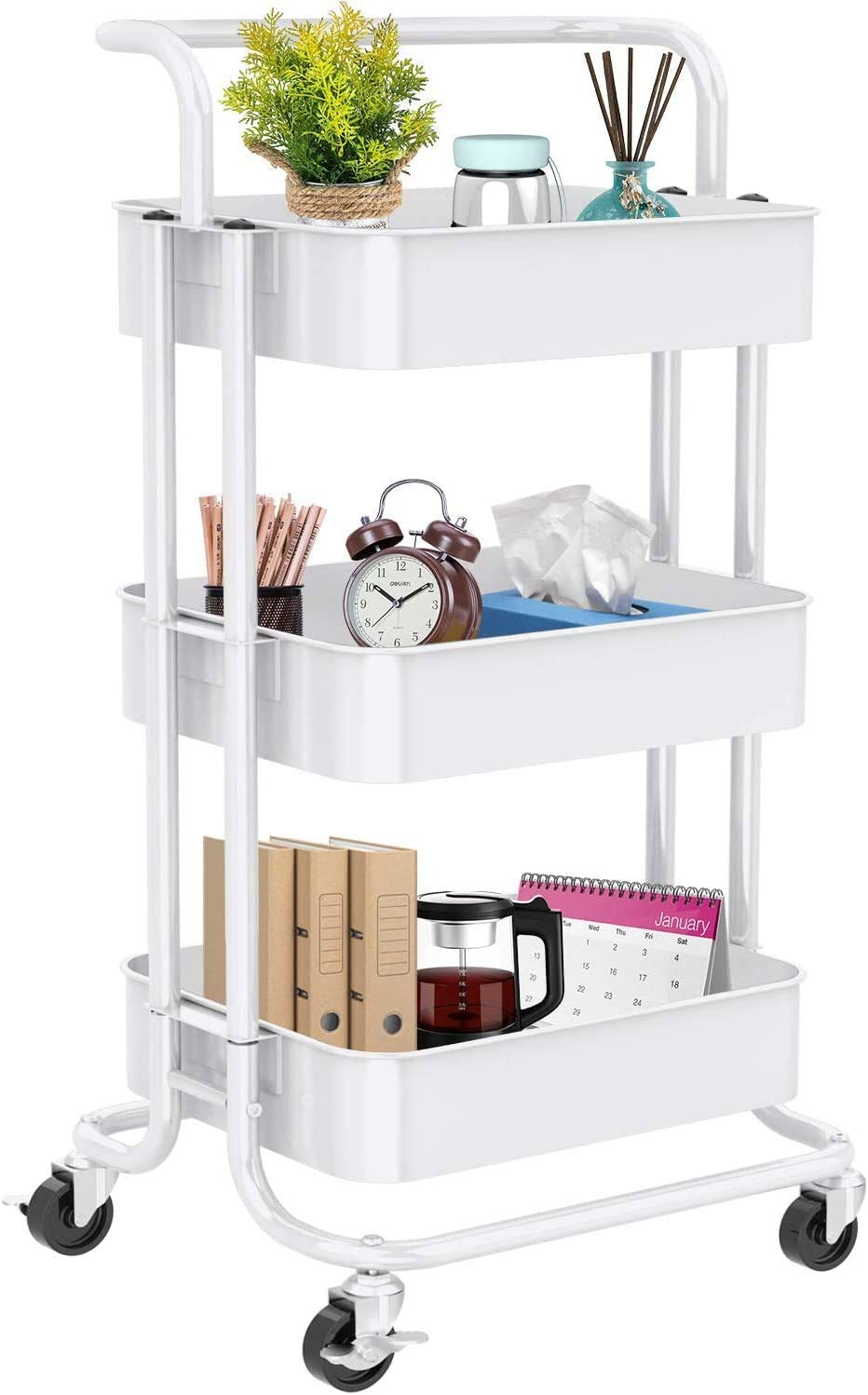 3-Tier Rolling Utility Cart, Multifunctional Metal Organization Storage Cart with 2 Lockable Wheels for Office, Home, Kitchen, Bedroom, Bathroom, Laundry Room by Pipishell (White)