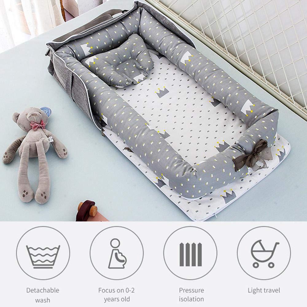 FOONEE Baby Lounger Nest Coj/ín de Tumbona para reci/én Nacido s/úper Suave y Transpirable Adecuado de 0 a 2 a/ños,Desmontable Cuna port/átil y mois/és Dormir en Co