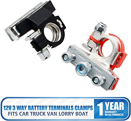 2pcs Car Vehicle 3 Ways Battery Terminal Cable Clamp Heavy Duty Quick Connector