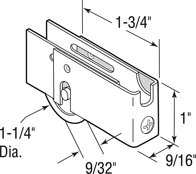 Prime-Line Products D 1871 Sliding Door Roller Assembly with 1-1//4-Inch Nylon Ball Bearing