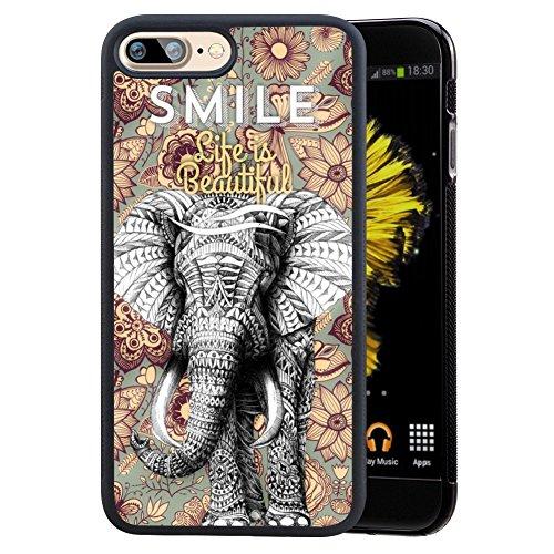 Elephant Mandala Case for iPhone 7 Plus / iPhone 8 Plus Customized Design by MERVELLE TPU and PC Black Shock-Proof Protective Case [Anti-Slippery]