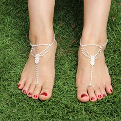 ab0d3fa563e0e2 Image Unavailable. Image not available for. Color  Naomi Bridal Crystal Barefoot  Sandals Foot Jewelry Ankle Bracelet Toe Ring Beach Gift