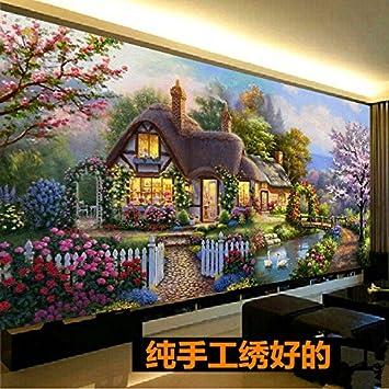 AIGUFENG Hecho a mano en punto de cruz acabado sueño hogar jardín choza sala de estar grandes pinturas paisaje rural bordado,195 * 95 cm: Amazon.es: Hogar