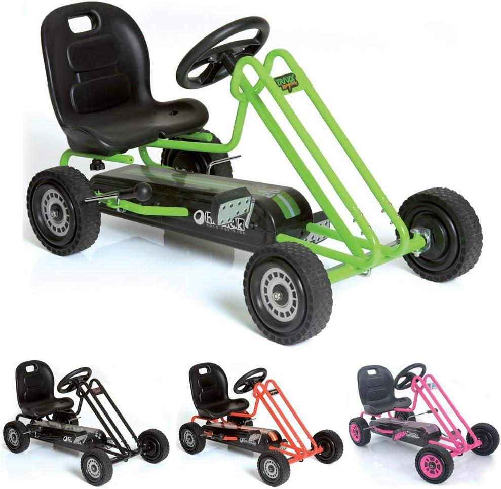 Hauck T90105 Lightning Go-Kart - Coche con pedales de juguete (metal, plástico y acero, 90,6 x 53 x 22,4 cm), color verde y negro