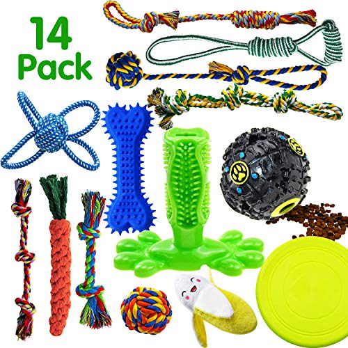 SHARLOVY Dog Chew Toys for Puppies Teething, 14 Pack Natural Cotton Dog Rope Toys with Ball Knot Tug of War Dog Toy iq Treat Ball Rubber Bone Durable Dog Chew Toys for Small Dogs Pet Toys Puppy Toys