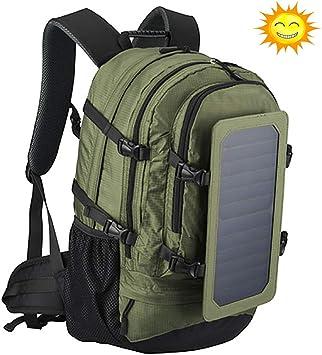 Mochila de carga solar grande con panel solar de 7 vatios, carga smartphones, tabletas, smartwatch, 17 pulgadas, mochila impermeable y transpirable para camping, montañismo, caminatas: Amazon.es: Equipaje