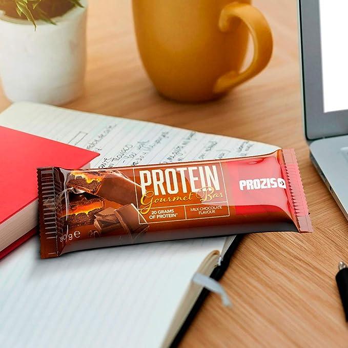 Prozis Protein Gourmet Bar Para Disfrutar Sin Remordimientos: 20 g de Proteínas, Fuente de Fibra y Bajo en Carbohidratos, Chocolate con leche - 12 x ...