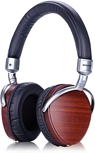 GearBizz Over-the-ear Noise-isolating Ebony Wood Earcup Hi-Fi Pure Music Headphones Super Bass 74mm Diameter Speakers Brown Color