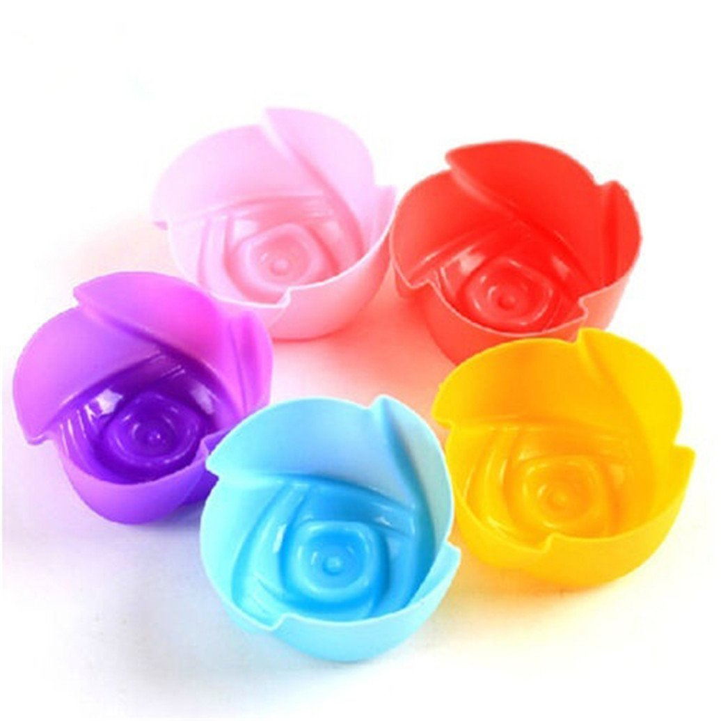 Potato001 5Pcs Silicone Rose Muffin Cookie Cup Cake Baking Moulds Chocolate Maker Molds Size 3CM (Random)