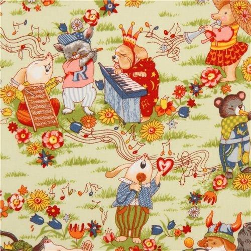 Fabric Alexander Henry (light green Alexander Henry animal fabric with music (per 0.5 yard multiple))