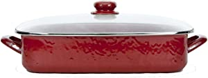 Enamelware - Red on Red Texture Pattern -16 x 12.5 x 4 Inch Lasagna Pan Set