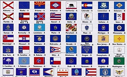 SET-OF-50-3X5-STATE-FLAGS-UNITED-STATES-COMPLETE-ALL-US-STATES-3X5-FT- by Ant Enterprises.