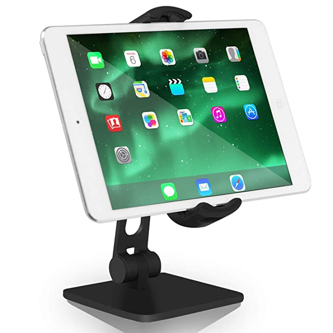 Aluminum Tablet Stand Cell Phone Holder Adjustable Folding 360 Swivel  Compatible with iPhone 4–11 iPad Mini Air Pro Samsung Microsoft Surface,