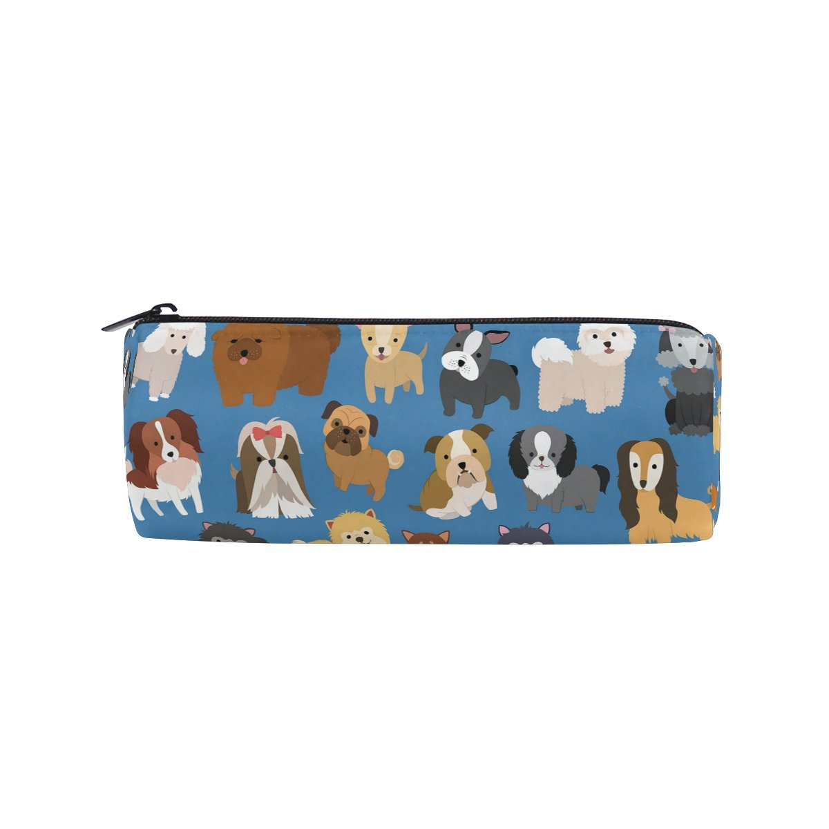 ALAZA Cute Dog and Puppy Set Animal Pencil Pen Case Pouch Bag with Zipper for Girls Kids School Student Stationery Office Supplies