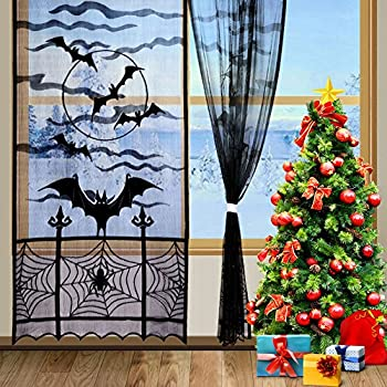 Aytai 2pcs Black Christmas Decorations Lace Window Curtain Door Curtain  Panel For Xmas Holiday Party Decoration