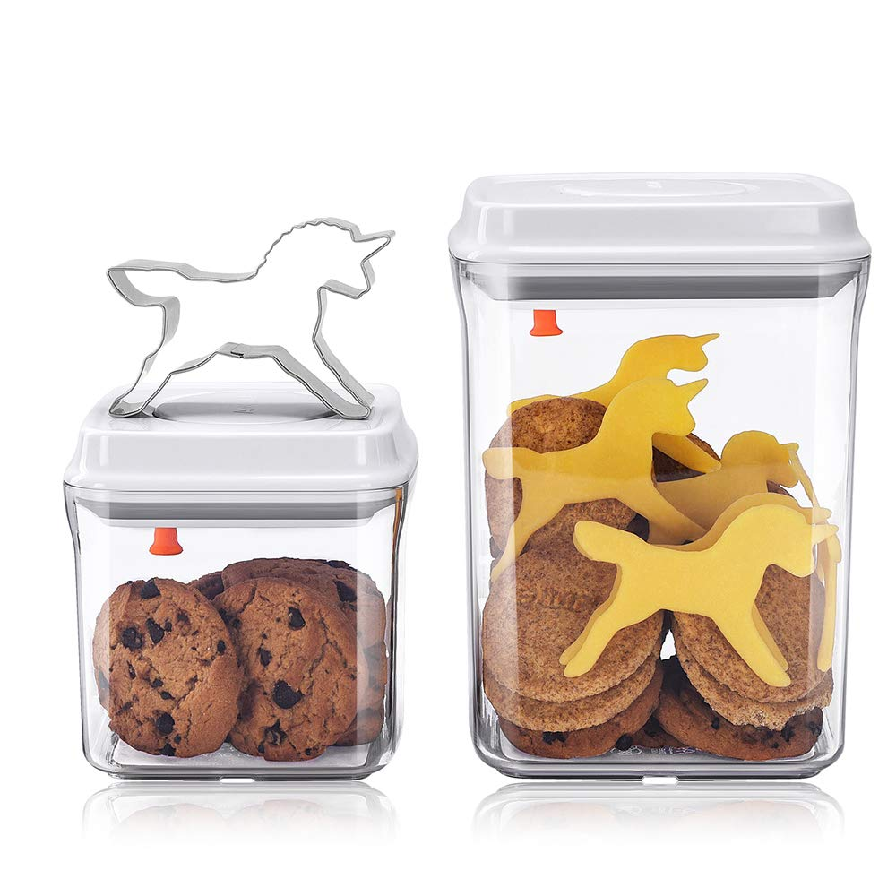 Airtight Biscuit Bins with Lid - Pop up Cookie Jars with Unicorn Biscuit Cutters - Pack of 2 (0.5L+1.5L) ANKOU