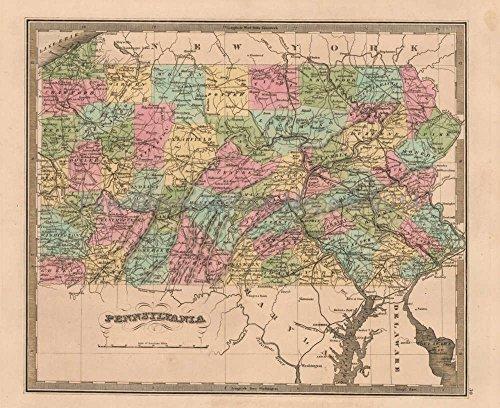 Pennsylvania Antique Map Greenleaf 1844 Original Decor History Housewarming Ancestry Gift Ideas ()