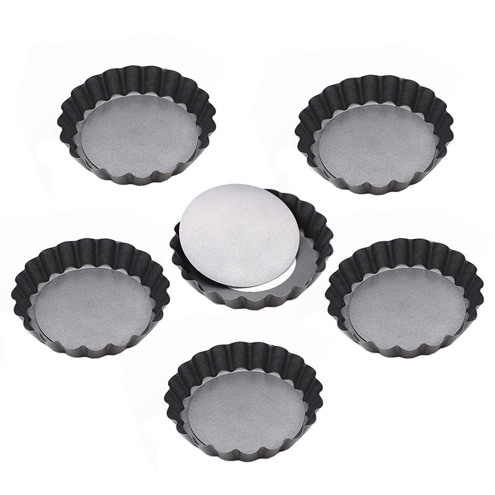 Kaptin 3.9 Inch Removable Bottom Quiche Pans, Non Stick Mini Tart Pans, Set of 6 by Kaptin