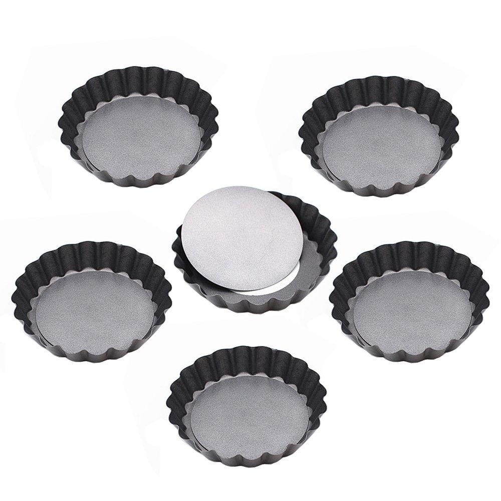 Kaptin 3.9 Inch Removable Bottom Quiche Pans, Non Stick Mini Tart Pans, Set of 6