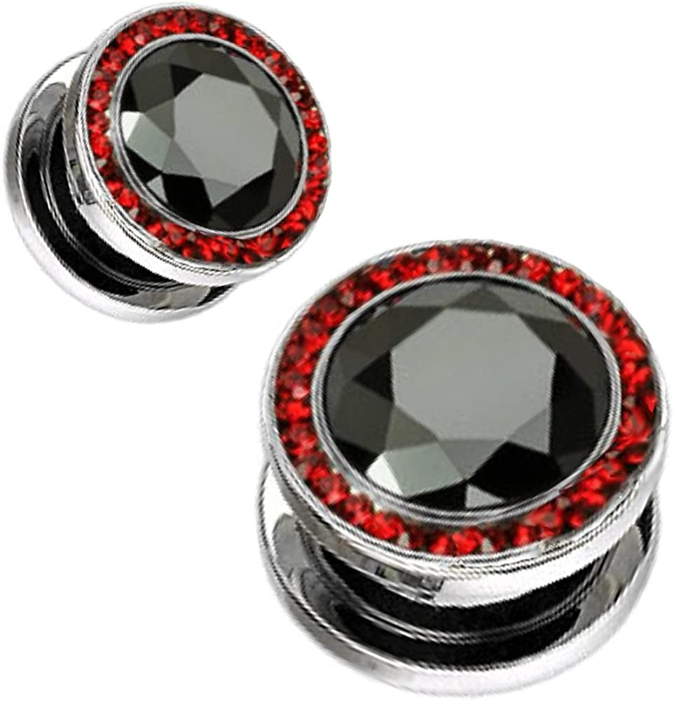 316L Surgical Steel Screw Fit Hollow Tunnels with Red Multi Gemmed Rim and Black Gem Center 9//16