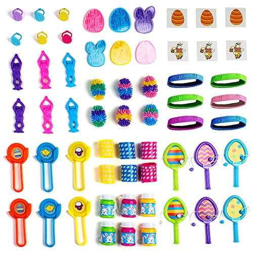 Neliblu Mega Easter Toy Novelty Assortment; Bulk Small Toys Perfect for Easter Egg Fillers, Easter Basket Stuffers, Pinata Fillers, Party Favors - Bulk Pack of 60 Assorted Easter Themed Toys ()