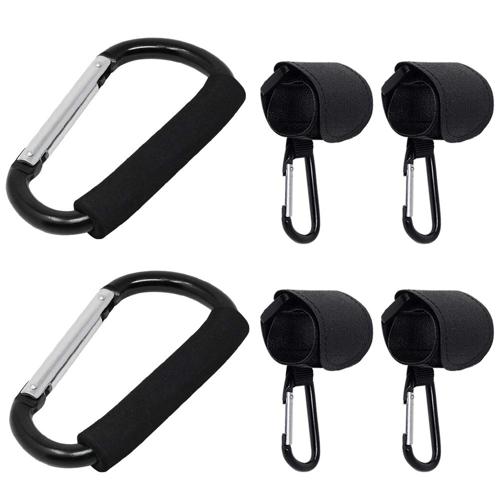 2Pcs Buggy Carabiner Hooks + 4Pcs Stroller Hooks Buggy Clip, Strong Mummy Clip Durable Large Buggy Clips Hook Universal Secure Buggy Stroller Pushchair Clips Shopping Bag Holder with Soft Grip mifengdaer
