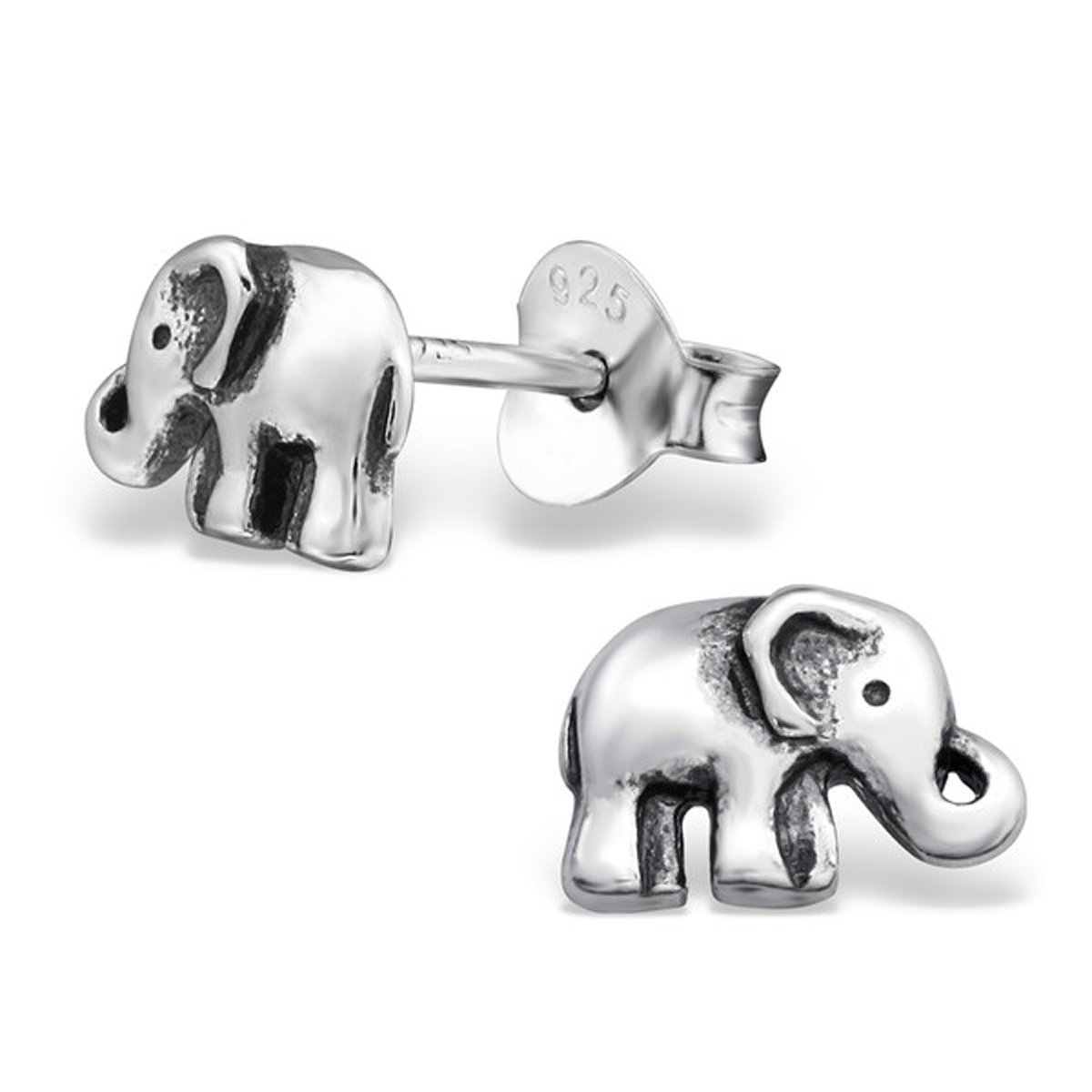 Cute Tiny Baby Elephant Plain Slver Studs Earrings Sterling Silver 925 (28245/29094) by PTN Silver Jewelry (Image #1)