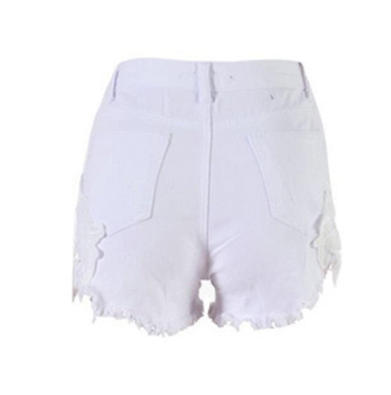 885af37d144e13 Emin Damen Spitze Häkeln Tassel Hohe Taille Denim Shorts Lochjeans Jeans  Hot Pants mit Taschen: Amazon.de: Bekleidung