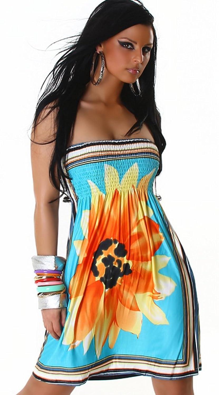 Damen Bandeau Kleid mit Blumenmotiv Einheitsgröße 32,34,36,38 verschiedene Farben