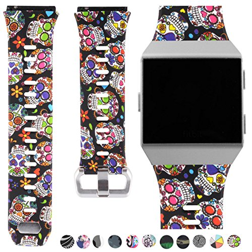 Fitbit Ionic Accessory Bands, Manly Case Women Cute Strap Rugged Pro G-shock Like Protective Wristband for Fitbit Ionic Smartwatch (Skeleton Flowers/Silver, Small 5.5