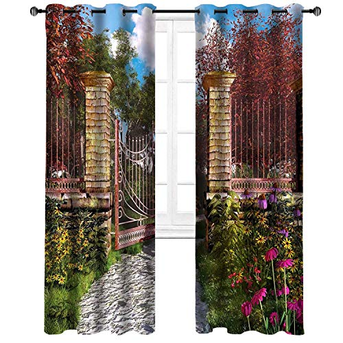 Mosmovan Art Curtains Collection by Magic Garden. Window Treatment Curtain Panel (Set of 2) Bedroom, Kitchen, Living Kids Teen Room Polyester96W x 108L Inch