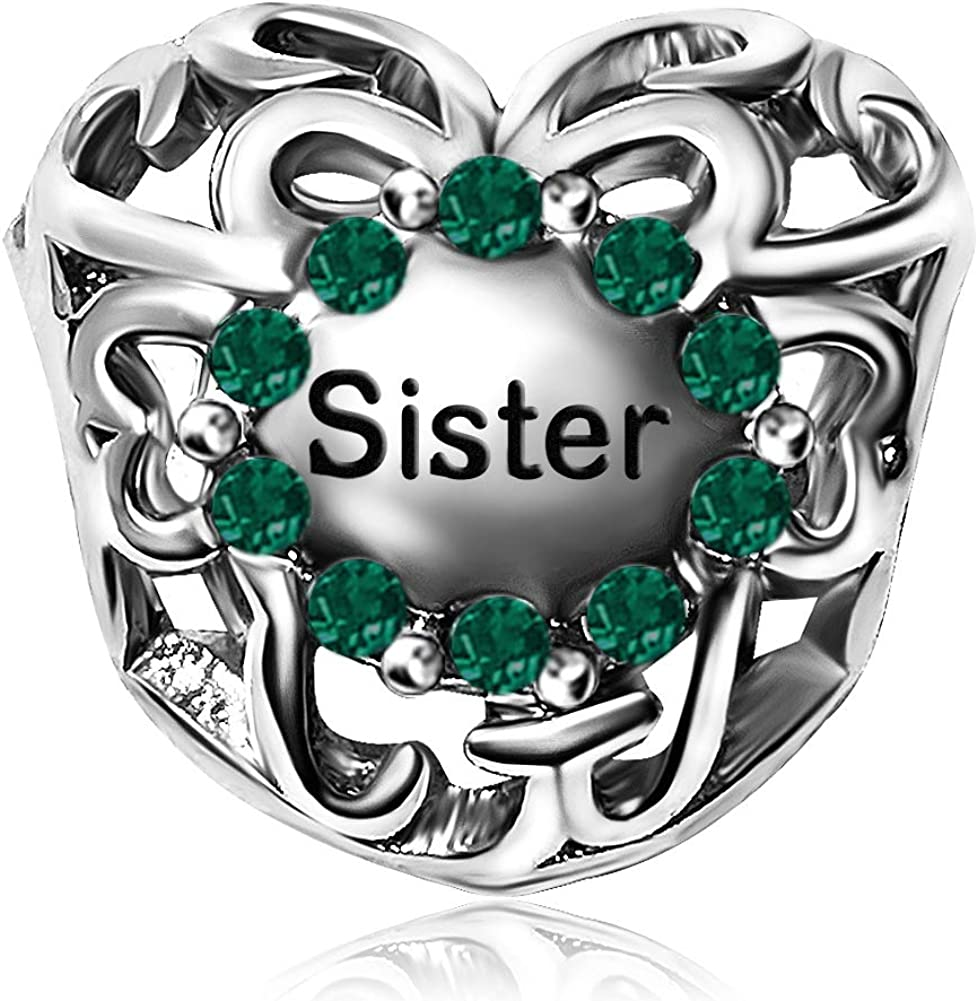 KunBead Jewellery Birthday Birthstone Love Heart Sister Charms for Bracelets Bead Crystal Pendant Gift for Women Girls