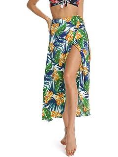 9b8607b7594 Plusnuolee Women's Bohemian Floral Print Tie up Long Maxi Skirt ...
