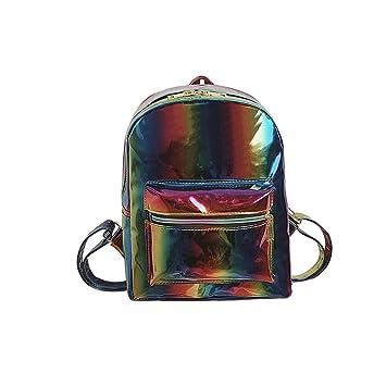 Mochilas Escolares Mujer, Mochila de señora de piel sintética holográfica a la moda,Mochila de día holográfica colorida brillante.: Amazon.es: Equipaje