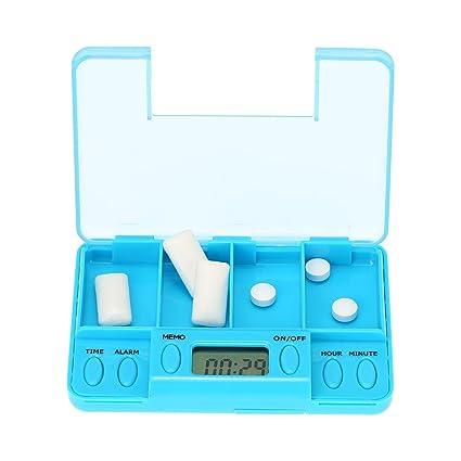 Anself - Caja de Plastillas Inteligente (4 Multi-Alarmas con Temporizador) Pastillero Electrónico para Recordatorio de Tabletas de Medicina a Mayores ...