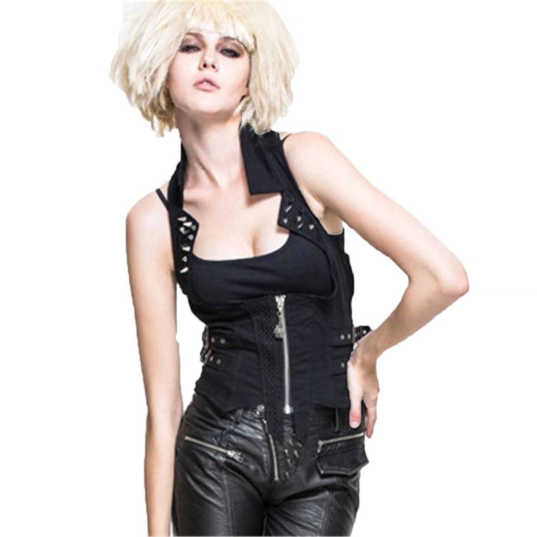 Devil Fashion Damen Rock Niet Weste Weste Steampunk Schwarz