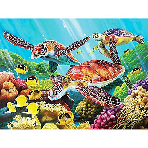 5D Diamond Painting Kits For Adults Full Drill Diamond Embroidery Colorful - Yellow Turtle, 9.8 X 11.8 Inch