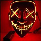Alxcio Halloween la maschere Spaventoso EL Wire Cosplay Maschera, Led Light Up Maschera per il Costume di Halloween Christmas Party Si illuminano al Buio (Arancione)