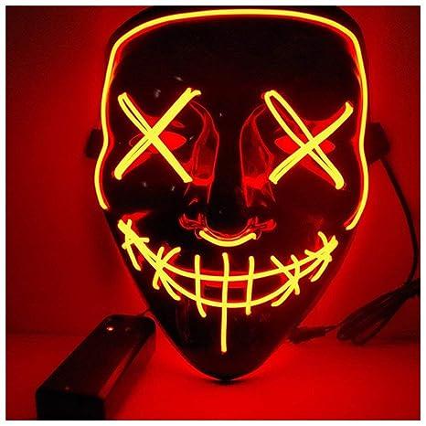 Halloween Maschere.Alxcio Halloween La Maschere Spaventoso El Wire Cosplay Maschera Led Light Up Maschera Per Il Costume Di Halloween Christmas Party Si Illuminano Al