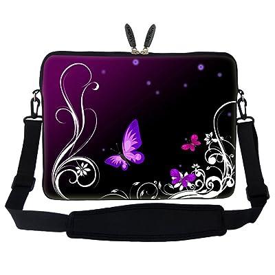 Meffort Inc 17 17.3 inch Neoprene Laptop Sleeve Bag Carrying Case with Hidden Handle and Adjustable Shoulder Strap - Dark Purple Butterfly Design