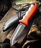 CUTCO Model 5717 Orange Gut Hook Hunting Knife …….High Carbon, Stainless 4 3/8″ Double-D® Serated Edge Blade…………5 7/8″ Durable Kraton® handle……..Leather sheath and lanyard included.