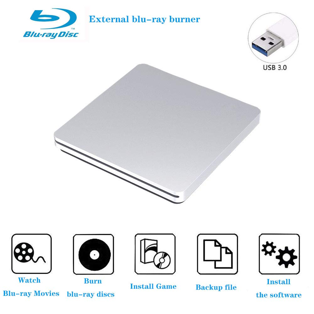 Blu-ray Burner External Blu ray Drive Portable USB 3.0 Ultra Slim 3D Blu Ray Player Suitable for PC and Laptop, Compatible with Windows 7/8/10, XP, Linxus, Mac OS System (Silver) by Aouan