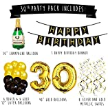 Sterling James Co. 30th Birthday Party Pack – Black & Gold Happy Birthday Bunting, Poms, and Swirls Pack- Birthday Decorations – 30th Birthday Party Supplies