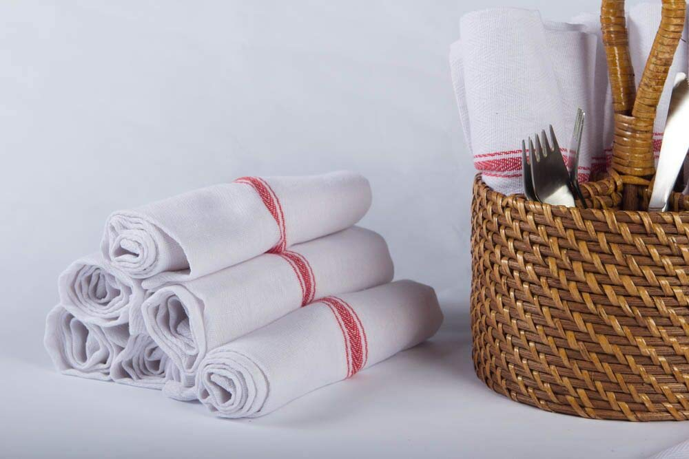 Kitchen Towel Dish Towels (13 Pack) Tea Towels 100 Percent Cotton Dish Cloths Red and White Dish Towels (15 x 25 Inch) Machine Washable By Ama's Kitchen by AMA's Kitchen (Image #6)