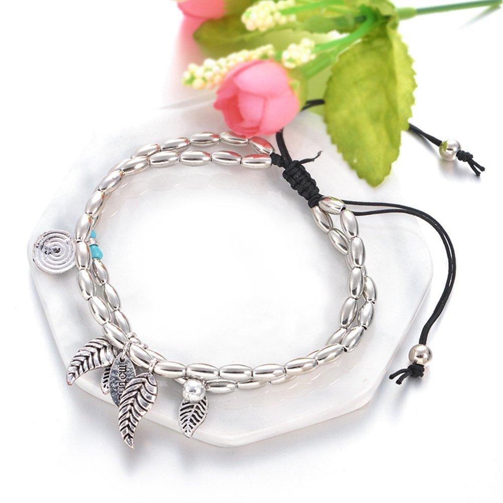 Antique Silver Infgreate Exquisite anklet Boho Double Layers Mother Letter Carved Leaves Sandal Barefoot Anklet Bracelet