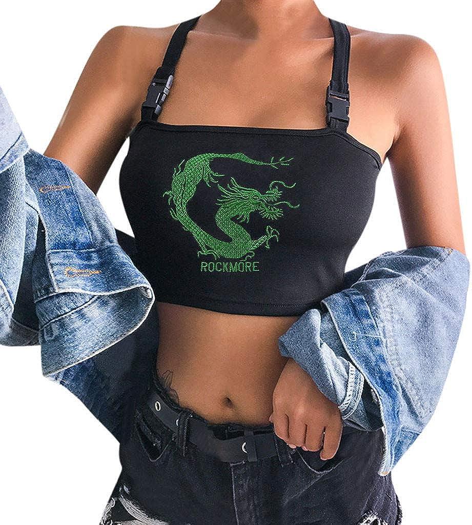 Darringls Tank Top para Mujer,Camiseta Sexy Crop Imprimir Top Mujer Chaleco Halter Camisola Blusa Camiseta sin Mangas Ropa Verano Casual para Chicas