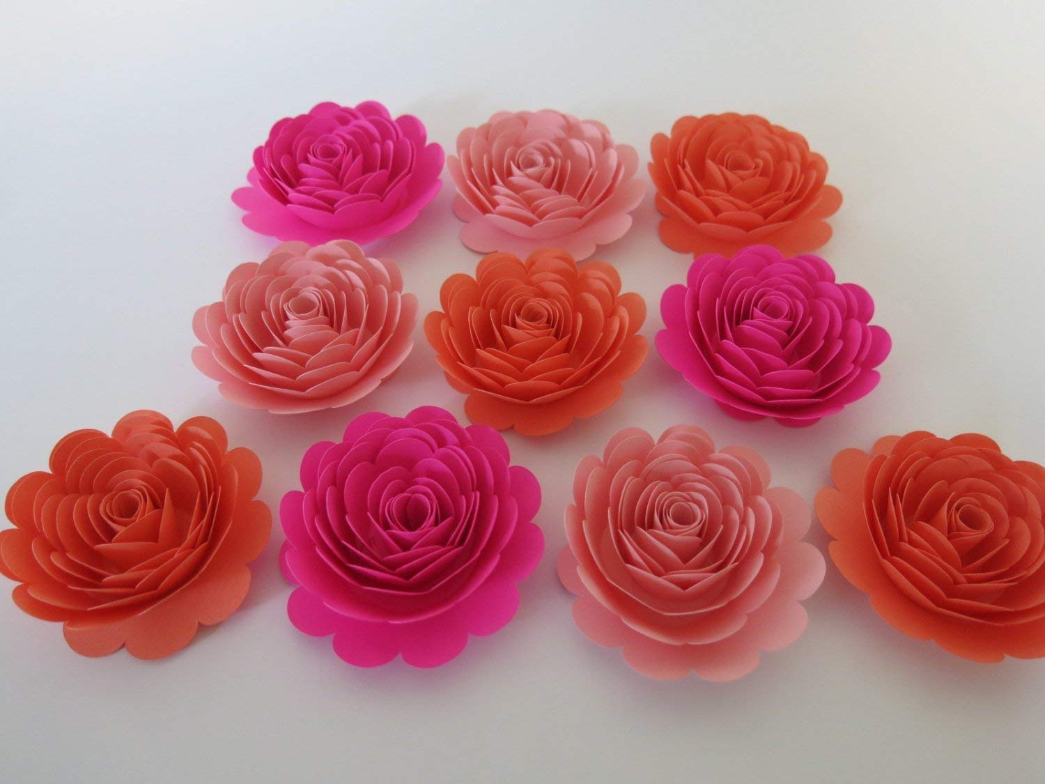 Amazon Shades Of Pink Roses Set 10 Big 3 Paper Flowers Princess Theme Birthday Party Decor Baby Nursery Wall Art Girl Shower Decorations