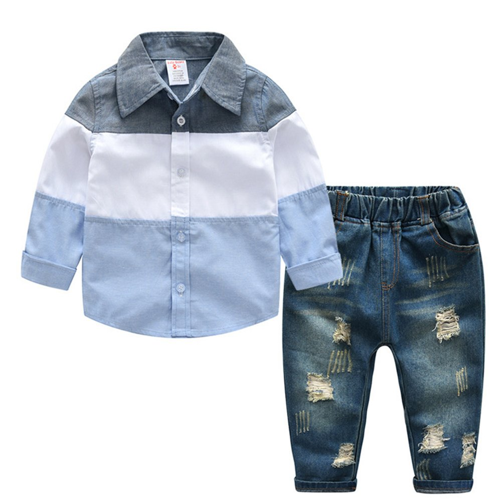 AIKSSOO 2pcs Kids Clothes Boys Outfits Long Sleeve Shirt Hole Denim Jeans Pants Clothing Sets Size 4 Years Old (Light Blue)