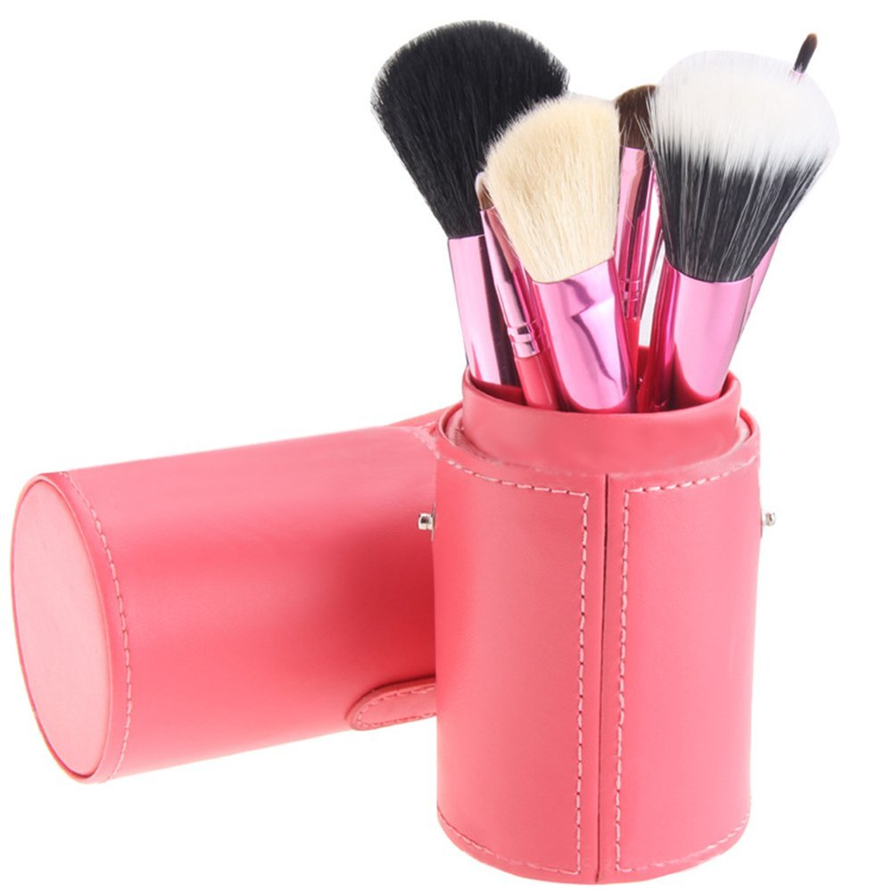 Remeehi 12pcs Makeup Brushes Set Professional Makeup Tools with Cylindrical Cosmetic Bag Purple
