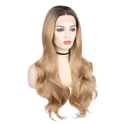 Arimika Wigs - Peluca rubia de pelo sintético con raíces oscuras y resistente al calor